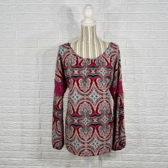 Pink Owl Tops - 5/$25 Pink Owl Boho Tunic Top w/Crocheted Accents